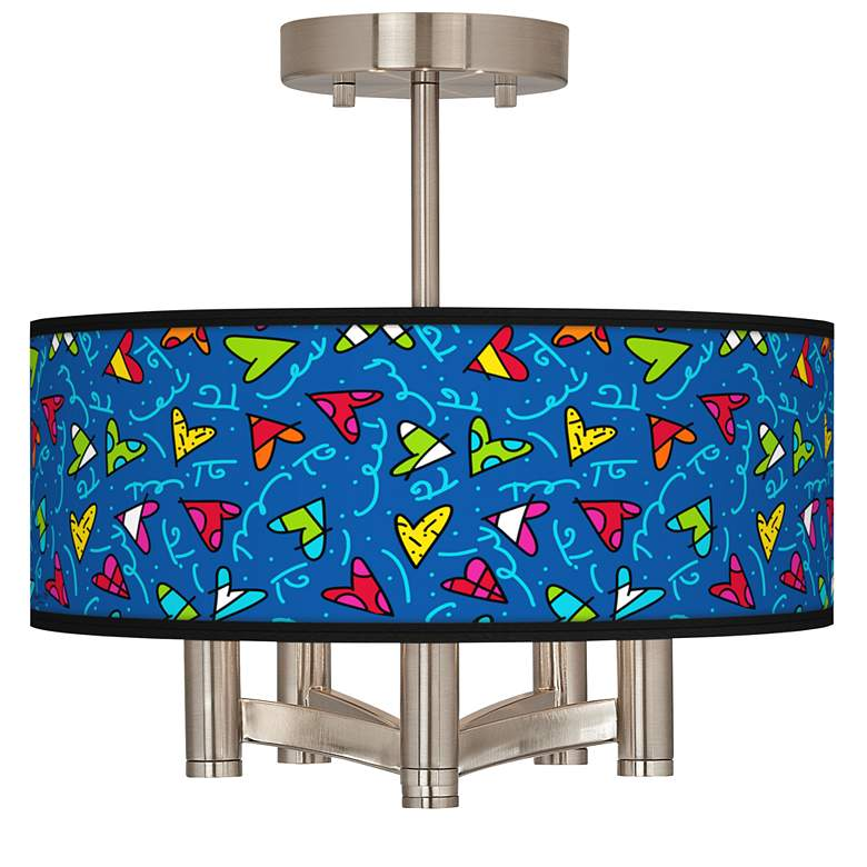 Britto Hearts Ava 5-Light Nickel Ceiling Light