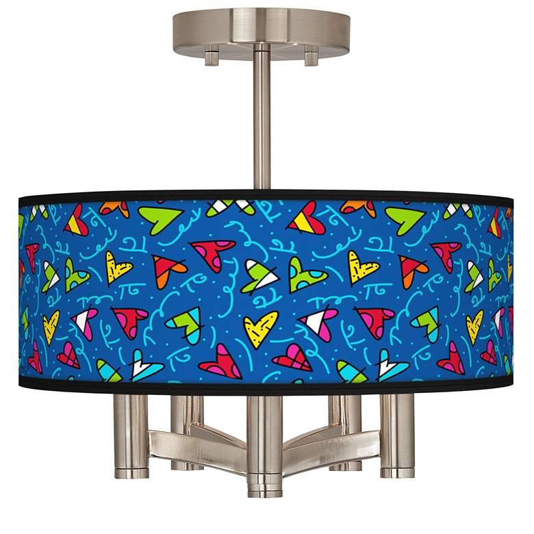 Romero Britto Hearts Ava 5-Light Nickel Ceiling Light