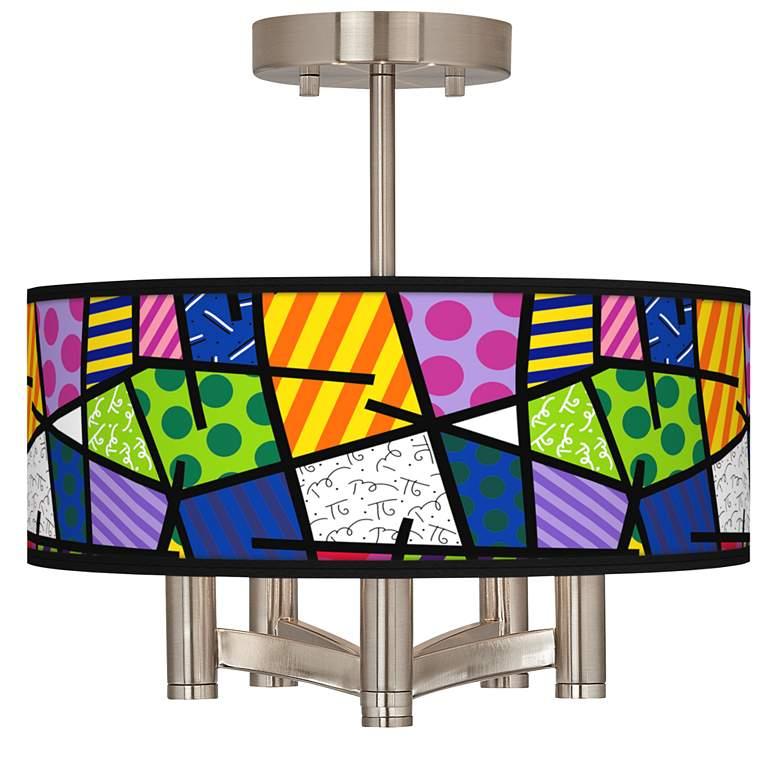 Romero Britto Abstract Ava 5-Light Nickel Ceiling Light