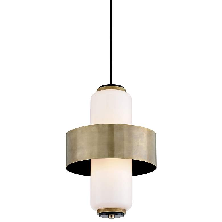 "Corbett Melrose 18"" Wide Vintage Brass Pendant Light"