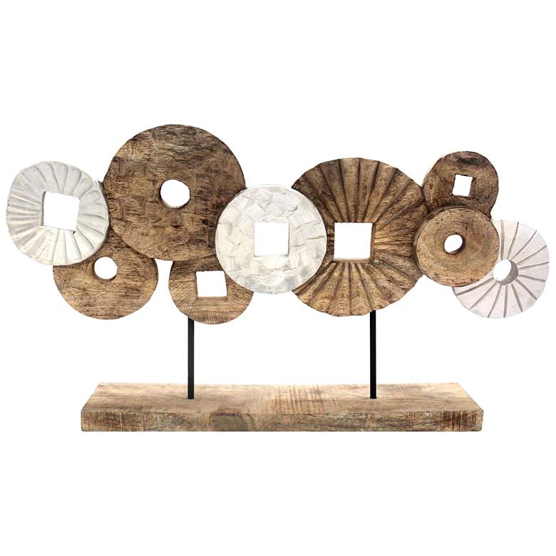 """Brown and White 27 1/2"""" Wide Mango Wood Circles Sculpture"""