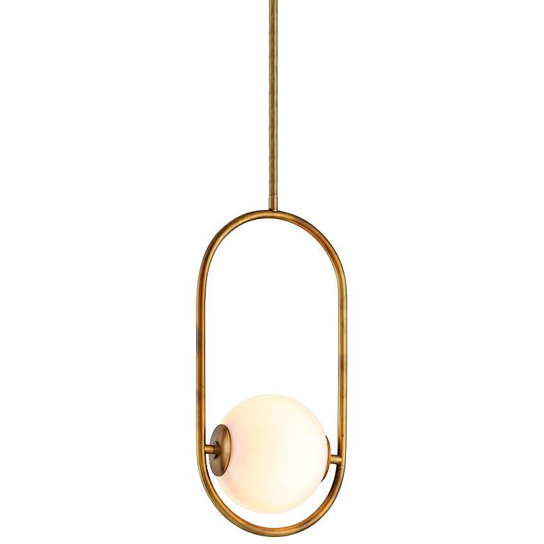 "Corbett Everley 6"" Wide Vintage Brass Mini Pendant"