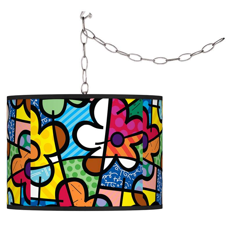 Romero Britto Flowers Plug-In Swag Pendant