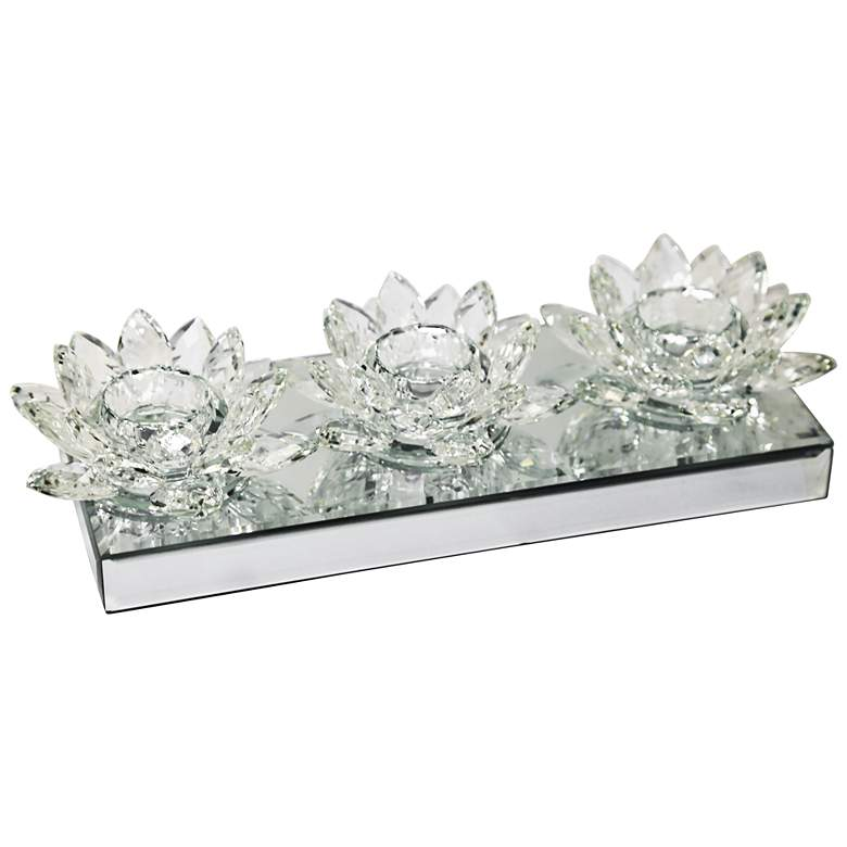 Triple Lotus Glass Tealight Candle Holder on Mirror Base