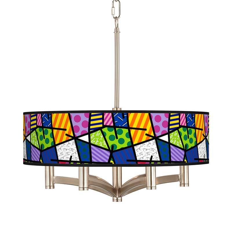 Romero Britto Abstract Ava 6-Light Nickel Pendant Chandelier
