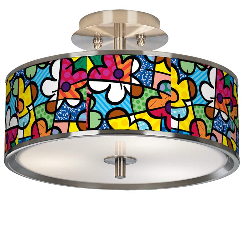 "Romero Britto Flowers 14"" Wide Ceiling Light"