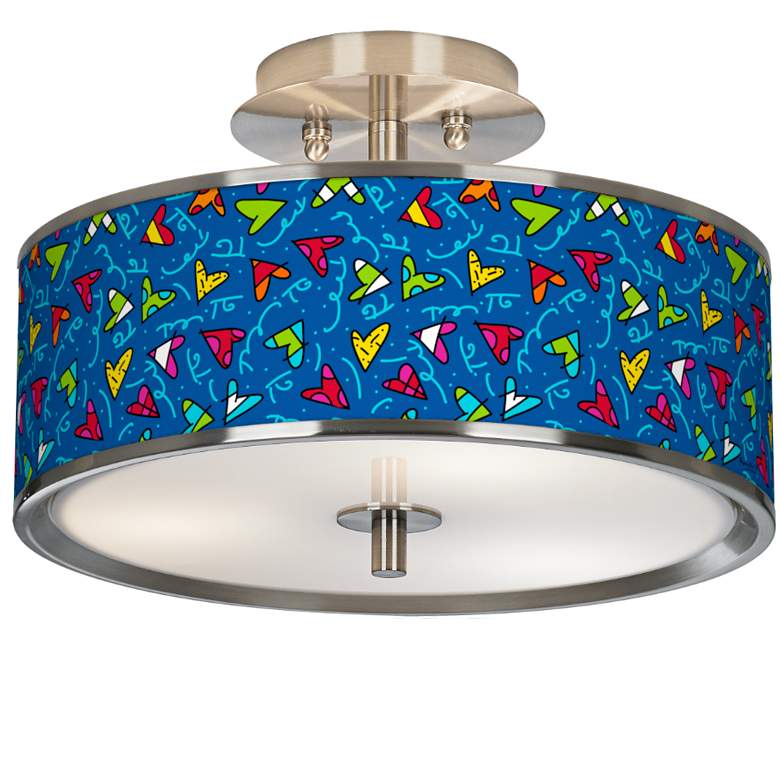 """Britto Hearts 14"""" Wide Ceiling Light"""