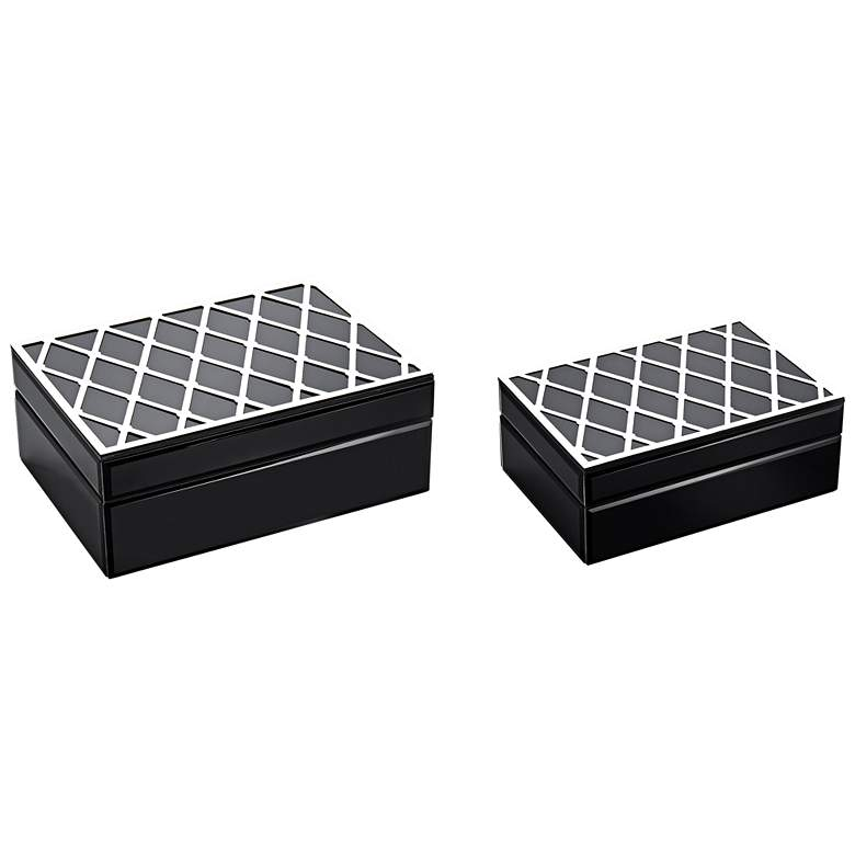 Shabby and Chic Black and Silver Decorative Boxes Set of 2