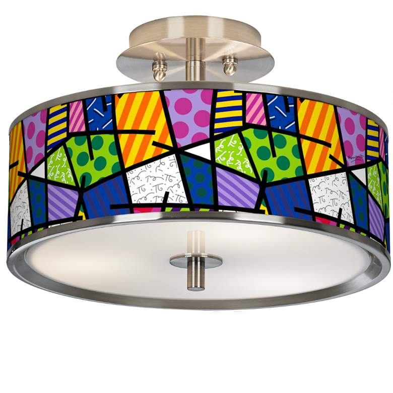 "Romero Britto Abstract 14"" Wide Ceiling Light"