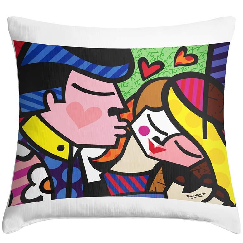 """Romero Britto Kiss 18"""" Square Throw Pillow"""