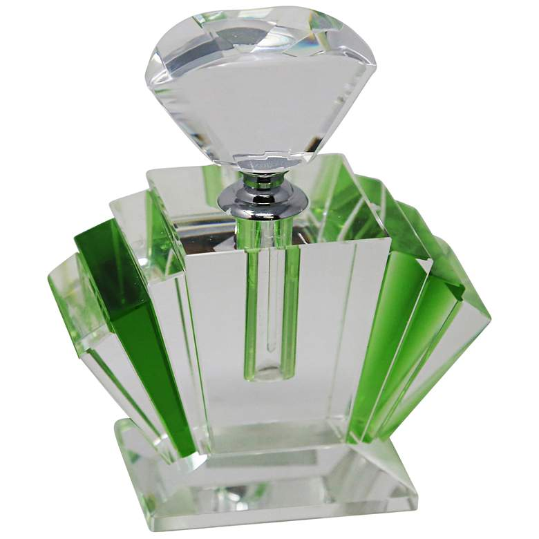 "Green 4 3/4"" High Crystal Perfume Bottle"