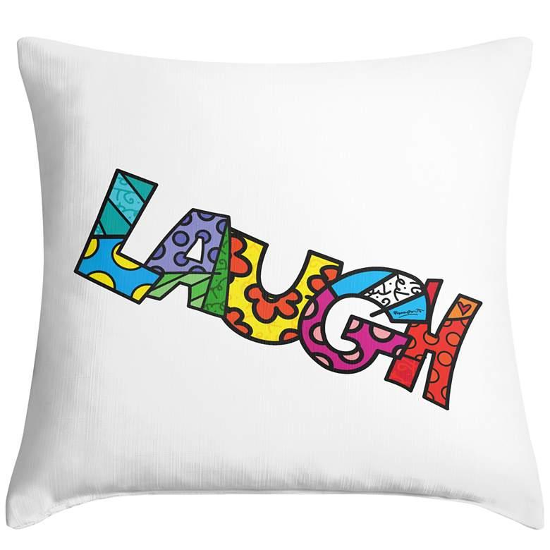 "Romero Britto Laugh 18"" Square Throw Pillow"