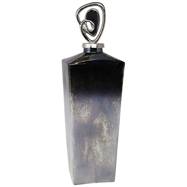 """Dark Ombre 20 1/2"""" High Glass Jar with Metal Topper"""