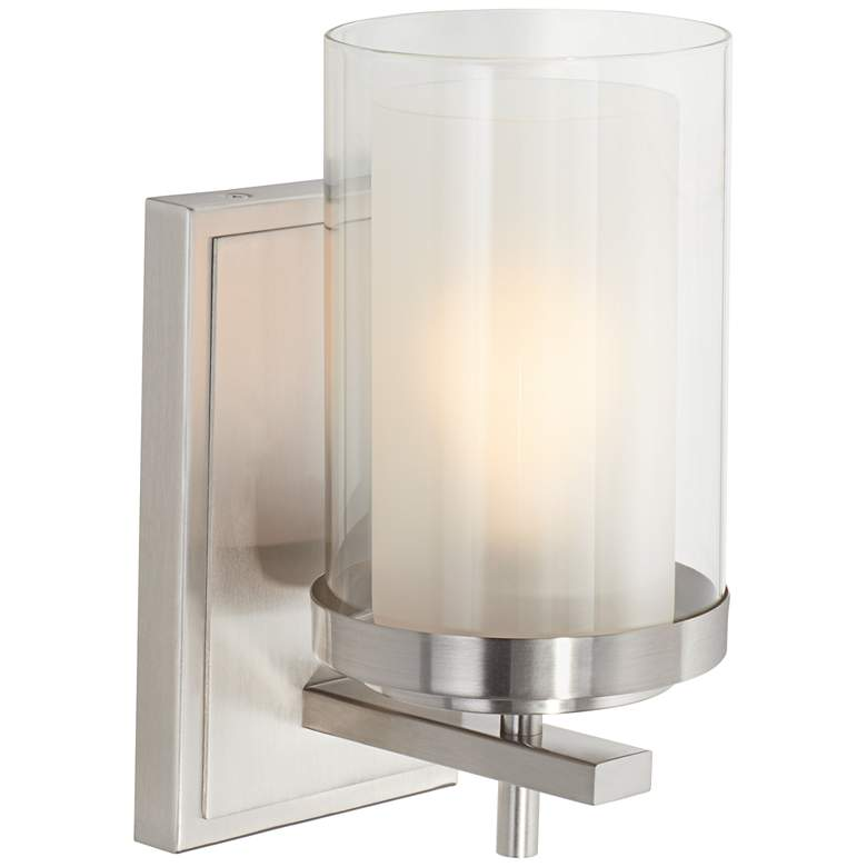 "Possini Euro Sannah 10""H Double Glass Nickel Wall Sconce"