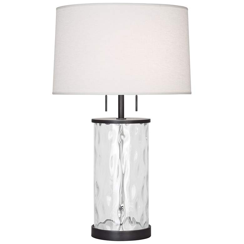 Gloria Wavy Glass with Deep Patina Bronze Accents Table Lamp