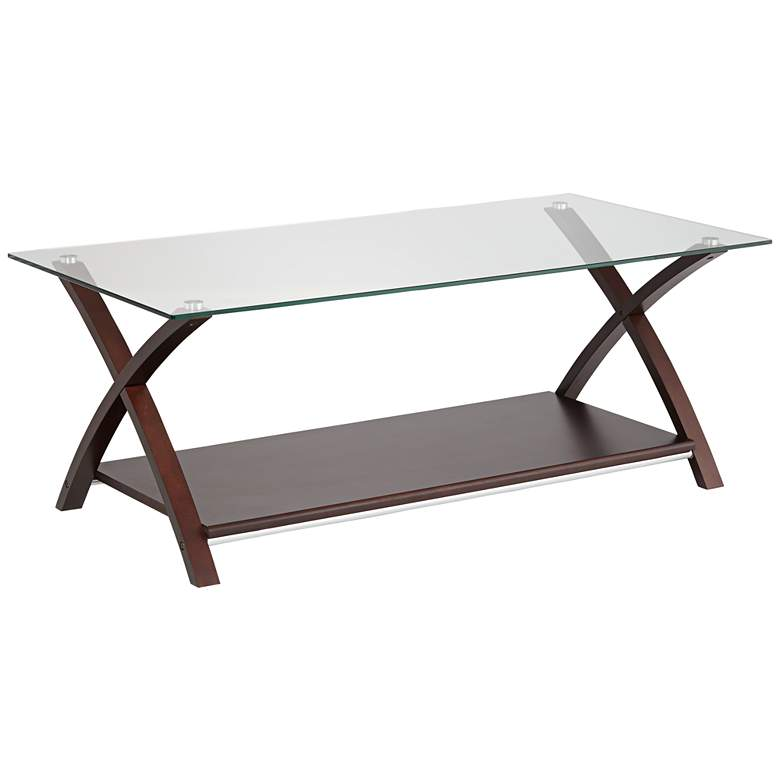 Ashton Espresso Wood and Glass Top Coffee Table