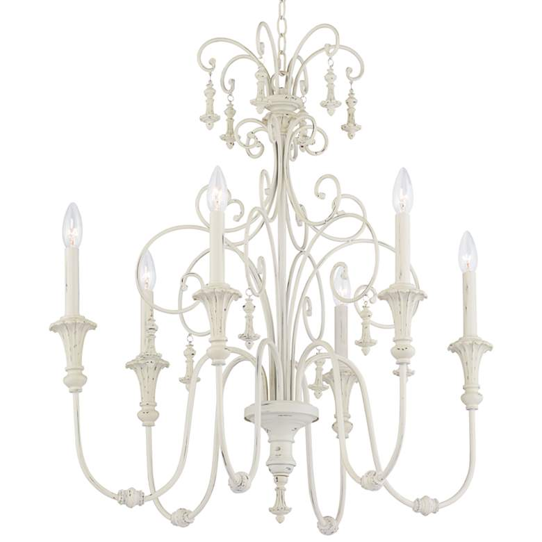 """Scrolled Tiers 28"""" Wide Antique White 6-Light Chandelier"""