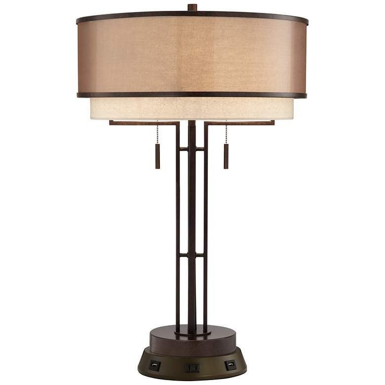 Andes Industrial Bronze Table Lamp with Workstation Base