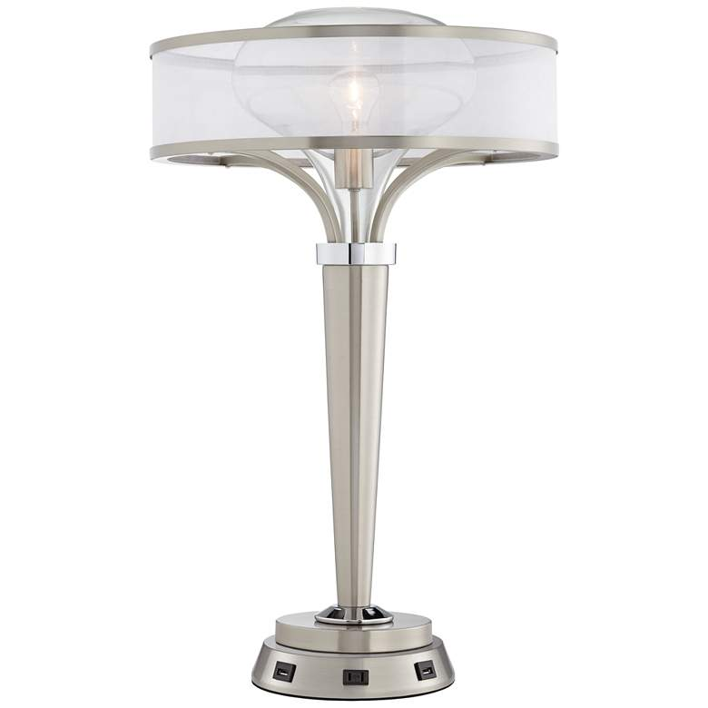Layne Brushed Nickel Table Lamp with Workstation Base