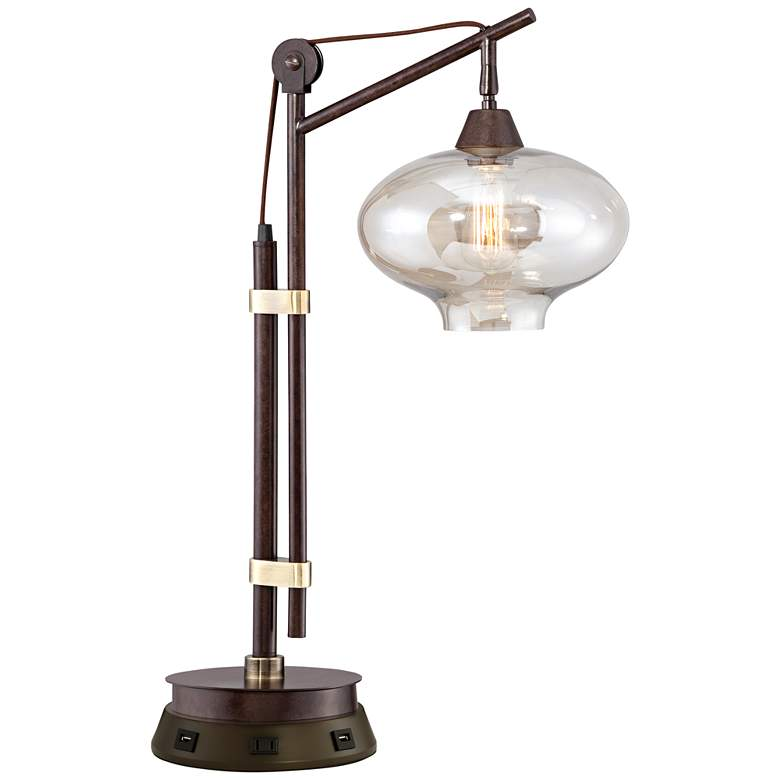 Calyx Industrial Bronze Desk Lamp with Workstation Base