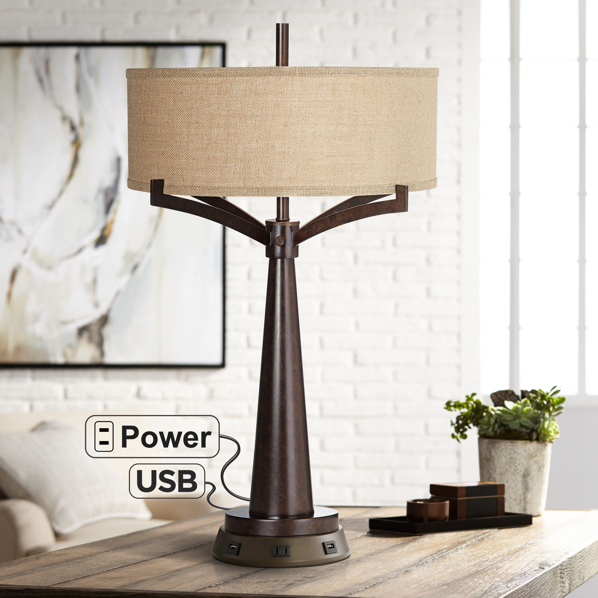 Picture of: Rustic Farmhouse Table Lamp With Usb Outlet Workstation Base Bronze Living Room Ebay