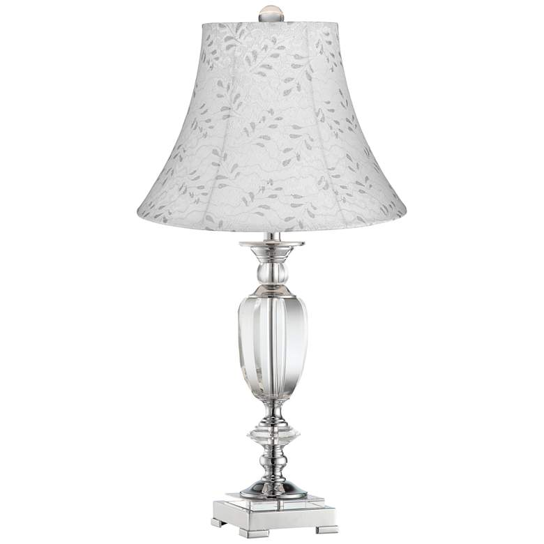 Beveled Crystal Urn Table Lamp with Off-White Leaf Shade