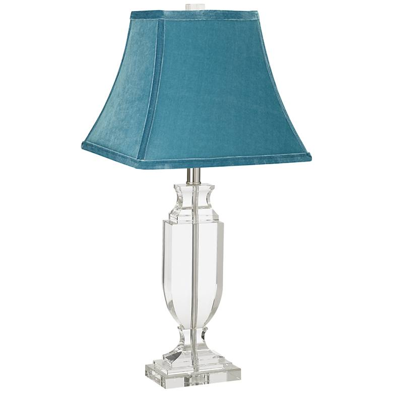Crystal Urn Table Lamp With Teal Blue Bell Shade 65v26
