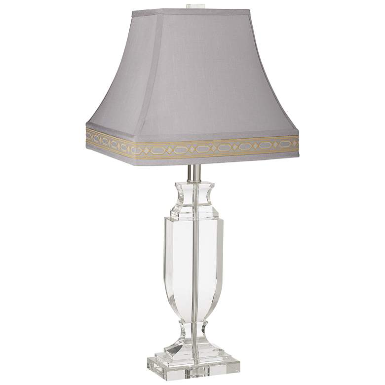 Crystal Urn Table Lamp with Gray Rectangular Bell Lamp Shade