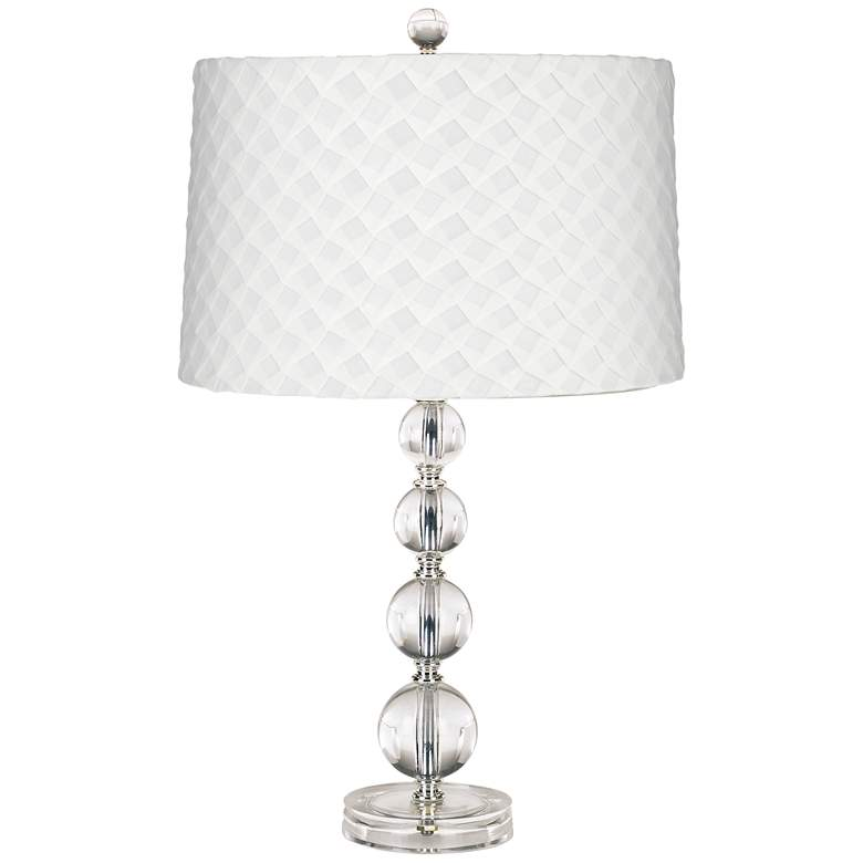 Dunmore White Shade Black Crystal Table Lamp 6r021