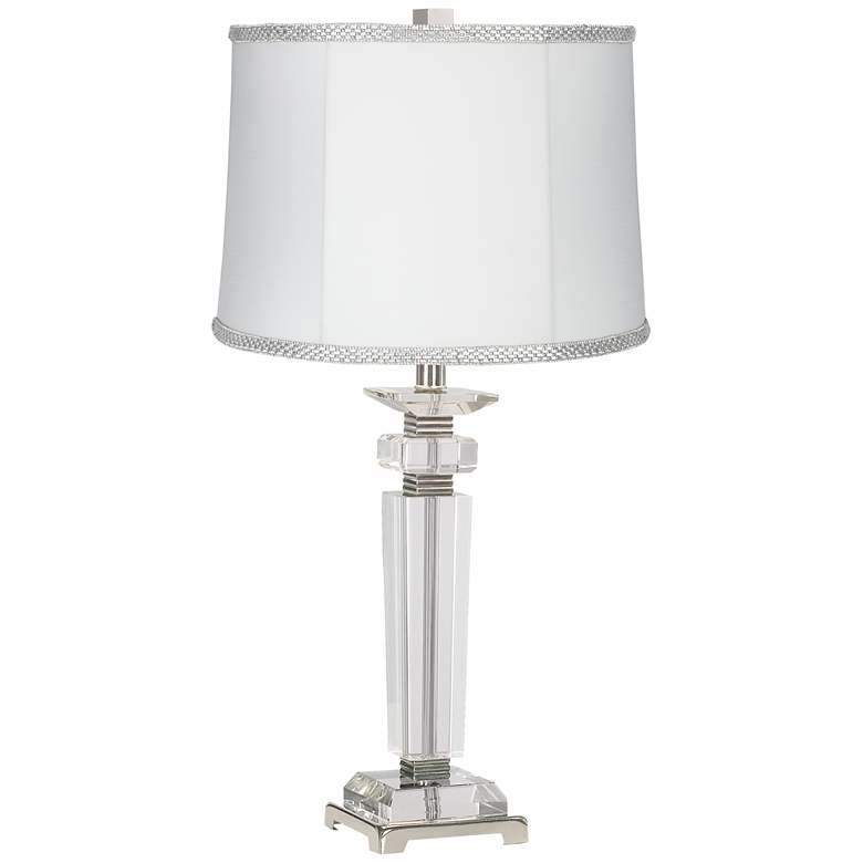Square Crystal Column Table Lamp with White Rhinestone Shade