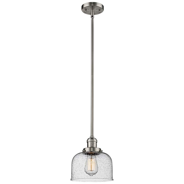 "Large Bell 8""W Brushed Satin Nickel Swiveling Mini Pendant"