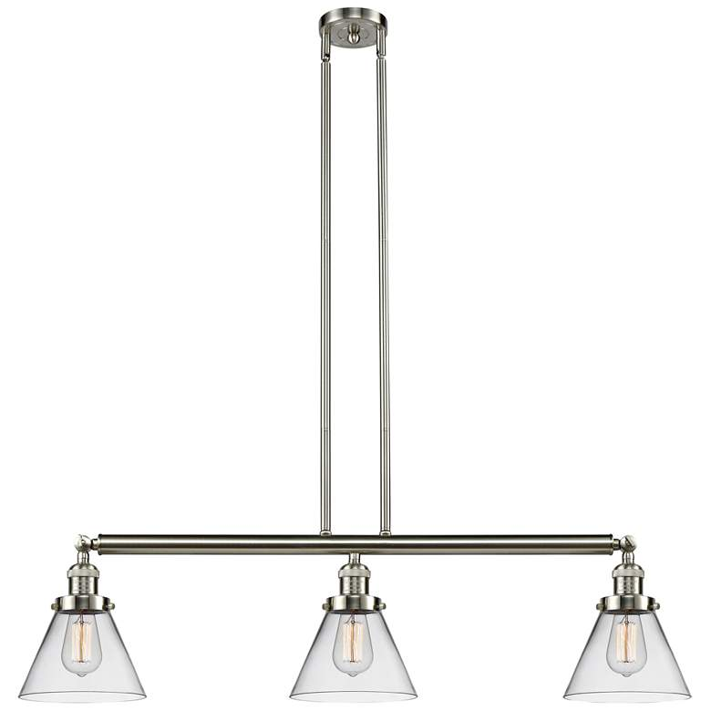 "Large Cone 40 1/4"" Wide Nickel Kitchen Island Light Pendant"