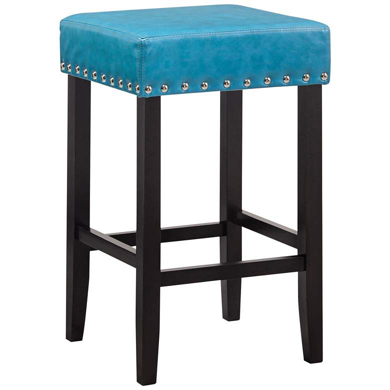 "Carmen 25"" Soft Blue Faux Leather Nailhead Counter Stool"