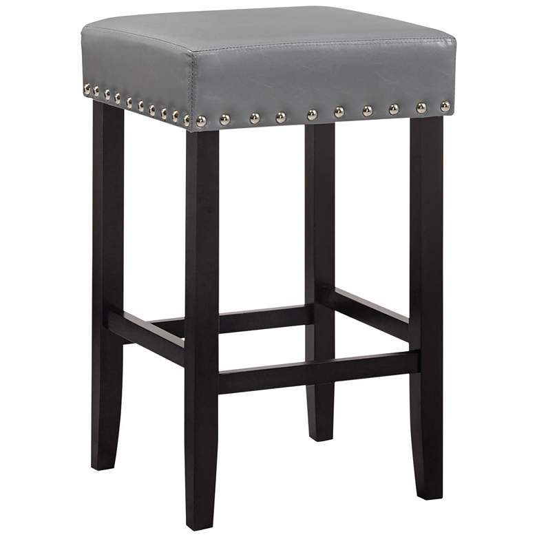 "Carmen 25"" Soft Gray Faux Leather Nailhead Counter Stool"