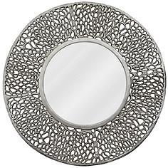 "Kenroy Home Adella Silver 32"" Round Wall Mirror"