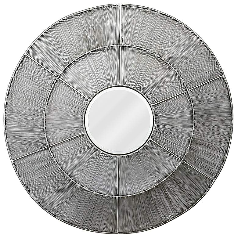 "Kenroy Home Estrella Nickel Woven Wire 36"" Round Wall Mirror"