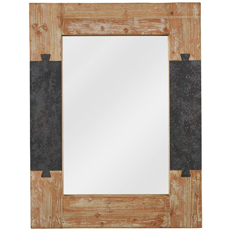 """Kenroy Home Joinery Wood 31 1/2"""" x 41 1/4"""" Wall Mirror"""