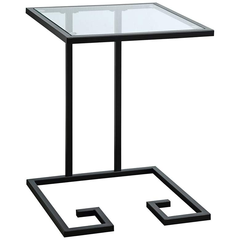 Greek Key Glass Top and Black Metal C-Shaped Side Table