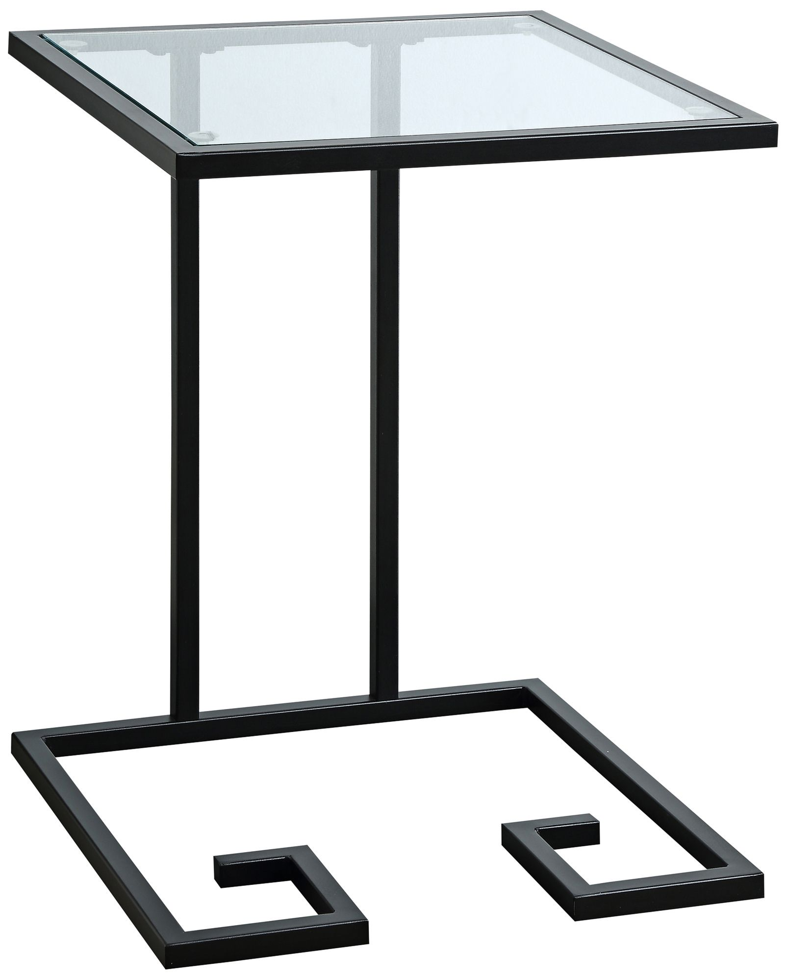 Greek Key Glass Top And Black Metal C Shaped Side Table
