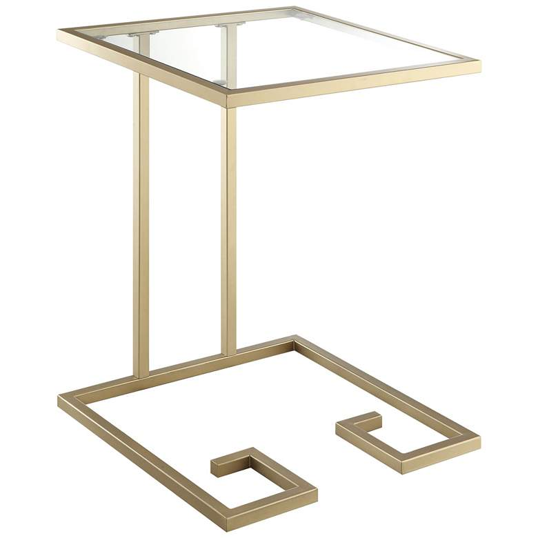 Greek Key Glass Top and Antique Gold C-Shaped Side Table