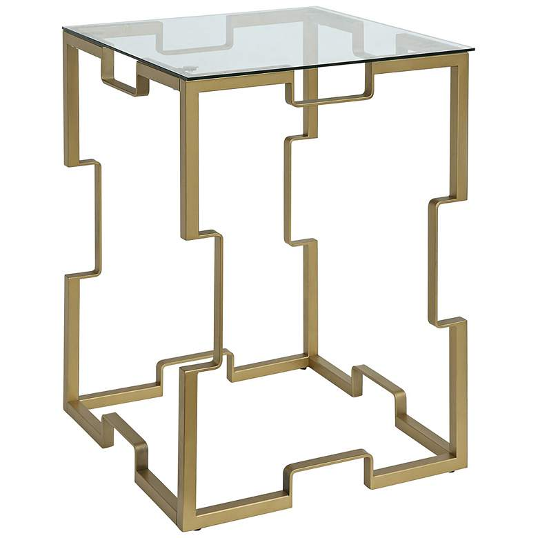 Elton Glass Top and Gold Metal Square Side Table