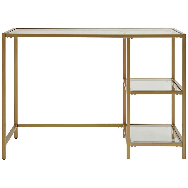 """Grayson 42"""" Wide Tempered Glass and Gold Metal 2-Shelf Office Desk"""