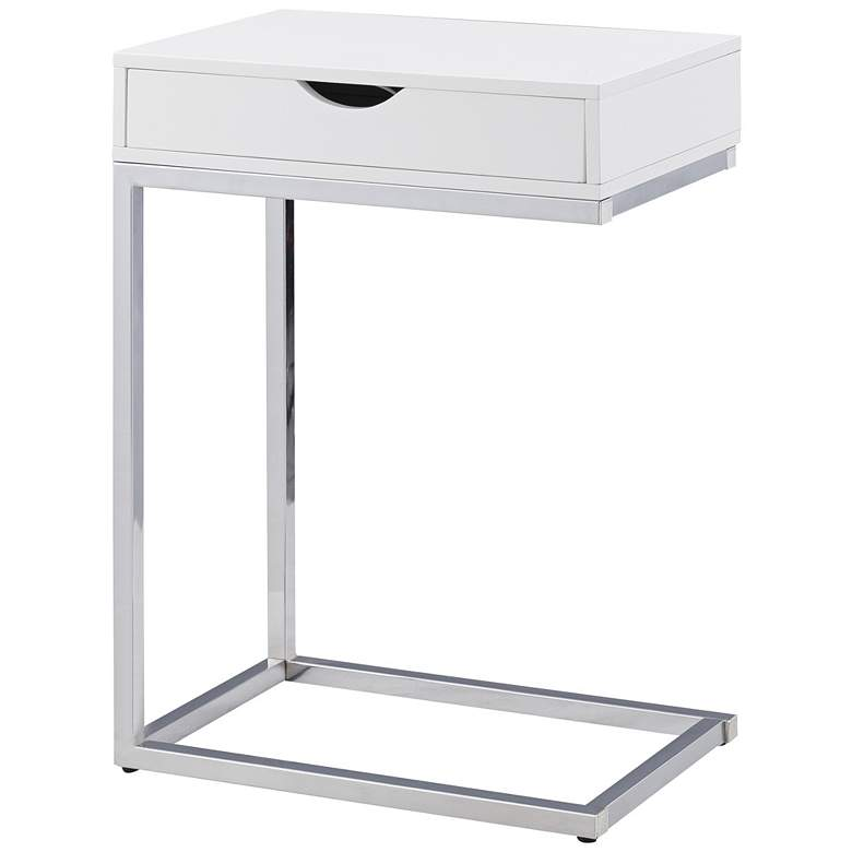 Justin White Wood And Chrome C Shaped 1 Drawer Side Table