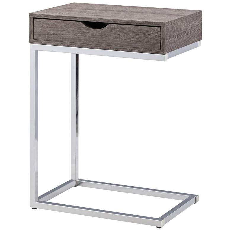 Justin Gray Wood And Chrome C Shaped 1 Drawer Side Table