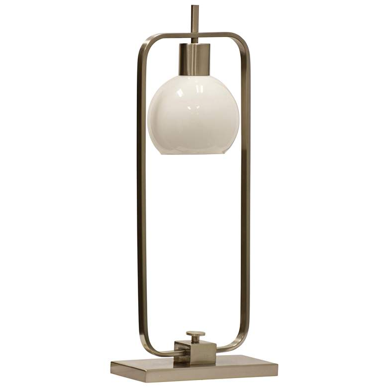 Crosby Brushed Nickel Table Lamp with Opal Glass Shade