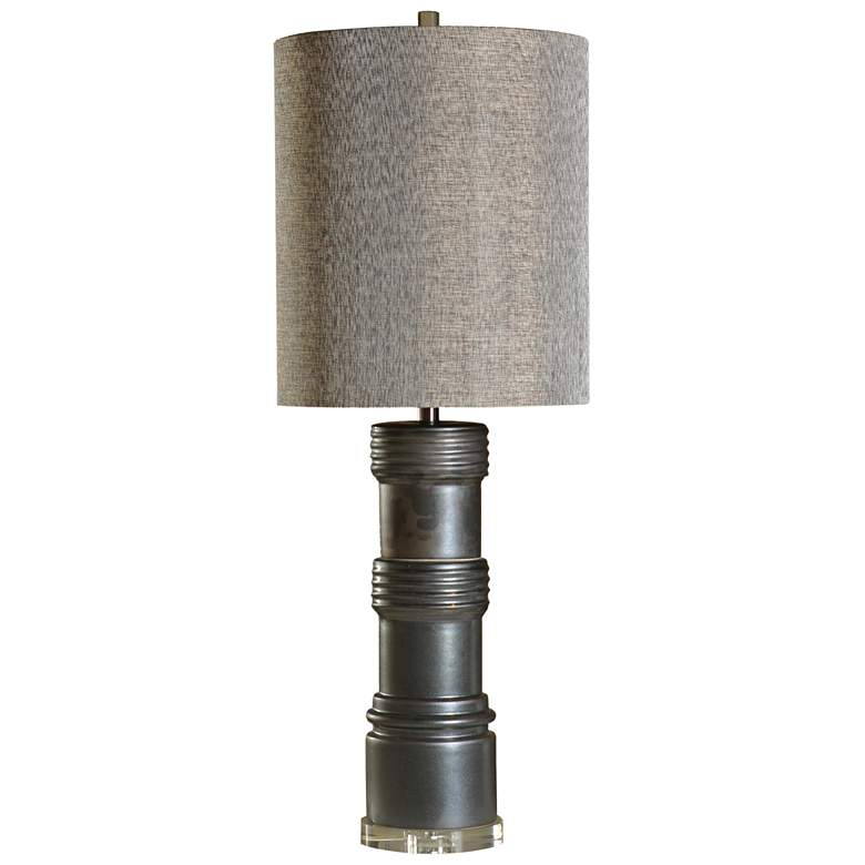 Sullivan Charcoal Ceramic Table Lamp with Gray Fabric Shade