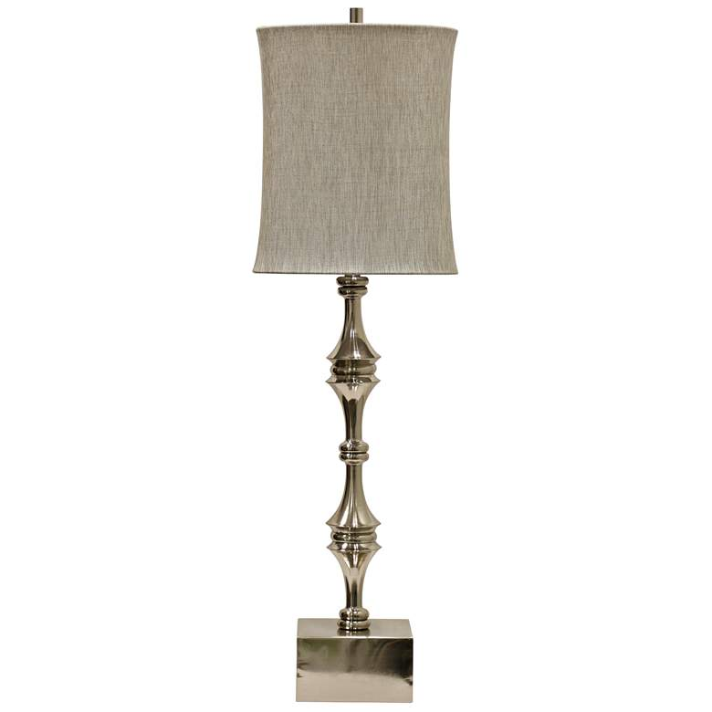 Essex Brushed Nickel Table Lamp with Taupe Shade