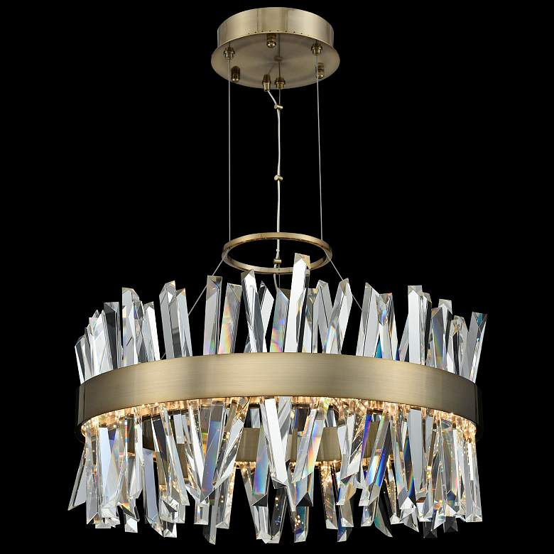 "Glacier 25"" Wide Champagne Gold LED Round Crystal Pendant"
