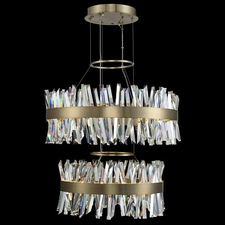 "Glacier 32""W Champagne Gold 2-Tier LED Round Crystal Pendant"