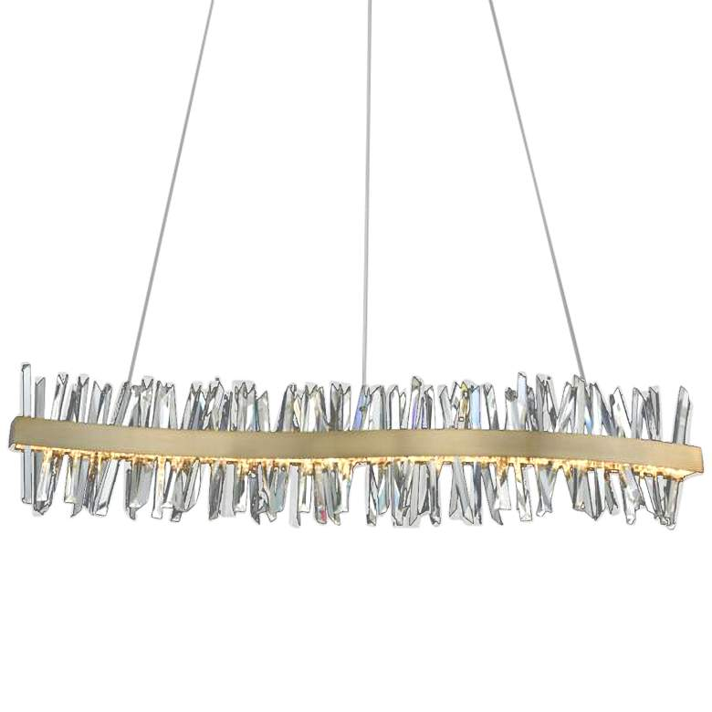 "Glacier 60""W Champagne Gold LED Crystal Wave Island Pendant"